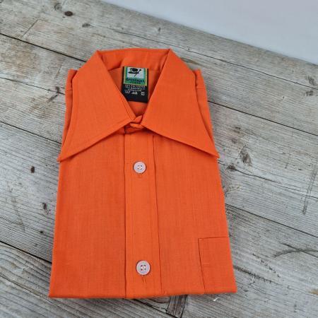 70er Jahre Kinder Oberhemd orange Größe 176