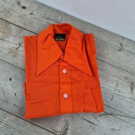 1970er Jahre Kinder Oberhemd orange Größe 164