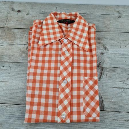 Kinder Oberhemd orange kariert 70er Jahre Größe 152